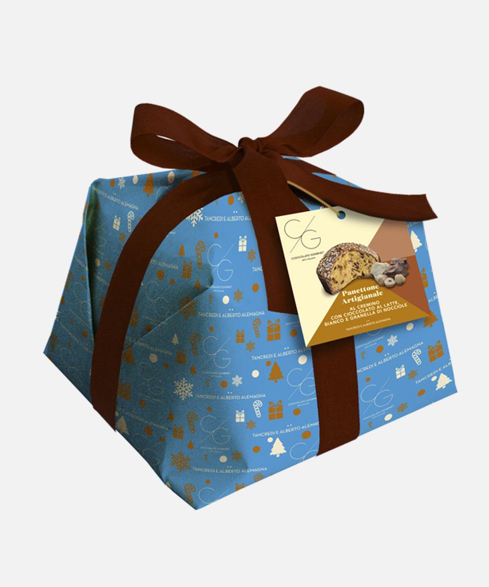 Cremino panettone cake with milk chocolate, white chocolate and hazelnut grain